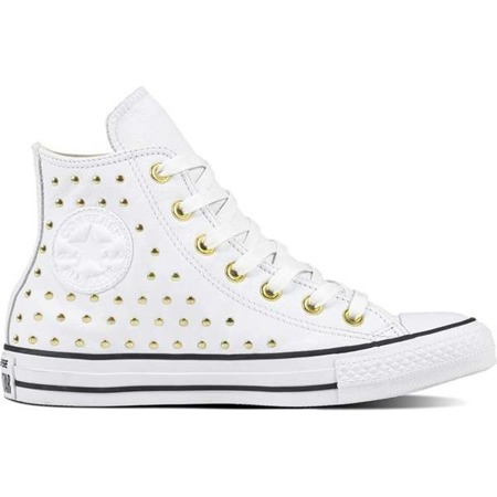 Converse CHUCK TAYLOR ALL STAR LEATHER WHITE WHITE GOLD - Buty Damskie Trampki